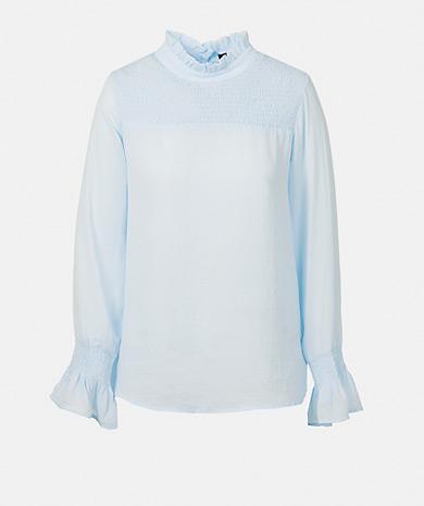Camisa azul com folhos
